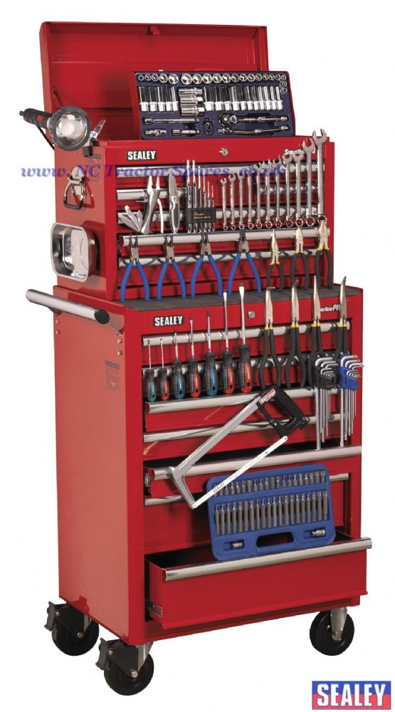 Topchest & Rollcab Combination 15 Drawer with Ball Bearing Runners - Red & 144pc Tool Kit